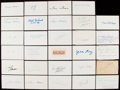 Autographs:Index Cards, Football Greats & Hall of Famers Signed Index, Cut, & Postcard lot of 41....