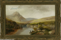 W.B. HENLEY (British 19th Century) Mountain Landscape Oil on canvas 16in. x 26in. Signed lower right  Condition Report...