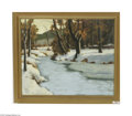 Fine Art:Paintings, Attributed to HANNY (HANNI) FRANKE (German 1890 - 1973) WinterStream, 1939 Oil on canvas 20in. 24in. Signed and dated l...