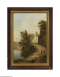 Fine Art:Paintings, EUROPEAN SCHOOL (19th Century) Lakeside Road Oil on canvas 24in. x16in. Condition Report: Canvas has been lined, 2in....