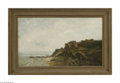Fine Art:Paintings, EUROPEAN SCHOOL (19th Century) Coastal Landscape Oil on canvas10.5in. x 18in. Condition report: Canvas is partially w...