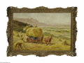 Fine Art:Paintings, ENGLISH SCHOOL (19th Century) Haying Oil on masonite 18in. x27.5in. Signed 'S_NT' lower right Label on reverse inscrib...