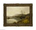 Fine Art:Paintings, ENGLISH SCHOOL (19th Century)Lake Scene, Grasmere Oil on canvas16in. x 22in. Signed lower left 'G Maynard' Condition ...