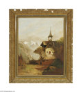 Fine Art:Paintings, EUROPEAN SCHOOL (19th Century) Alpine Village Oil on canvas 25in. x20in. Condition report: Unlined original canvas, 2...