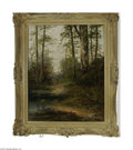 "Fine Art:Paintings, ENGLISH SCHOOL (19th Century) Forest Scene Oil on canvas 20in. x16in. Signed lower left 'W. Rogers"" Condition Report..."