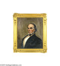 Political:3D & Other Display (pre-1896), Large Original Oil Painting Of Daniel Webster...