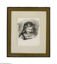 PIERRE AUGUSTE RENOIR (French 1841-1919) La Tete Baisee (from L'Album des Douze Lithographies Originales), 1904 Lithogra...