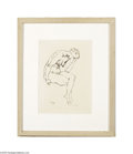 Paintings, GEORGE GROSZ (American 1893-1959). Seated Nude, 1915. Ink drawing on paper. 11.75in. x 8.75in.. Signed and dated lower left...