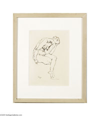 GEORGE GROSZ (American 1893-1959) Seated Nude, 1915 Ink drawing on paper 11.75in. x 8.75in. Signed and dated lower left&...