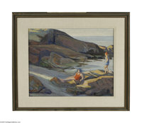 ANNE CARLETON (American 1878-1968) The Cove Oil on canvas 18in. x 22in. Signed lower right  Condition Report: Unlined...