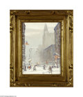 Paintings, JOHANN BERTHELSEN (American 1883- 1967). Park Avenue and 46th Street. Oil on canvas board. 12in. x 9in.. Signed lower right...