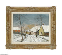 ALOIS LECOQUE (Czech 1891-1981) Winter scene Oil on canvas 16in. x 20in. Signed indistinctly lower left  Condition Rep...