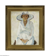 CHARLES WEBSTER HAWTHORNE (American 1872-1930) Lady in the Sun Oil on canvas 26.25in. x 22.25in. Signed top left  Cond...