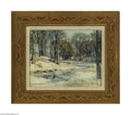 Fine Art:Paintings, JOHN FABIAN CARLSON (American 1875-1947) Winter Landscape Oil oncanvasboard 8in. x 10in. Signed lower right Conditio...