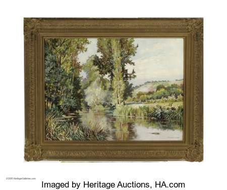 JACK WILKINSON SMITH (American 1873-1949) Landscape with Stream Oil on canvas 21.25in. x 29.75in Signed lower right C...