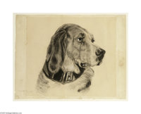 EDWARD HOPPER (American 1882-1967) Dog with Black Collar Charcoal on paper 15in. x 19.25in. Signed lower left Provenanc...