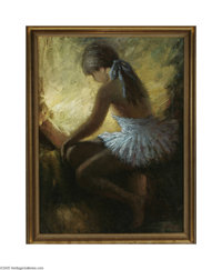 JESUS GALLEGO MARQUINA (Spanish 1900-1987) Ballerina Oil on canvas 32in. x 24in. Signed lower right Inscribed on revers...