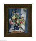 Paintings, MARTHA WALTER (American 1875-1976). Flowers from My Studio Window, Gloucester. Oil on canvas. 26in.x 21in. Signed lower righ...
