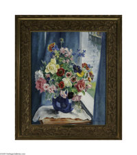 MARTHA WALTER (American 1875-1976) Flowers from My Studio Window, Gloucester Oil on canvas 26in.x 21in Signed lower righ...