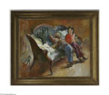 Paintings, ALICE KENT STODDARD (American 1885- 1976). Children on a Sofa. Oil on canvas. 35in. x 43in.. Signed lower right. Stamped on ...