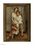Paintings, GERALD VIVIAN DAVIS (American 1899- 1987). Mother and Son, 1926. Oil on canvas. 55in. x 31.5in.. Signed lower right. Inscrib...