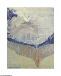 DANIEL MACMORRIS (American 1893-1981) Mystic Vision, 1938 Casein on board 21in. x 16.25in. Signed and dated lower left...