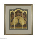 Paintings, DANIEL MACMORRIS (American 1893-1981). Design for decorative screen. Gouache on paper board. 16.75in. x 14.75in.. Signed low...