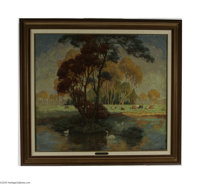 DANIEL MACMORRIS (American 1893-1981) Pond at Tiffany Estate, 1921 Oil on canvas 30.5in. x 34.25in. Signed and dated low...