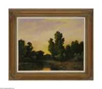 A.D. GREER (American 1904- 1998) Twilight Landscape Oil on canvas 24in. x 30in. Signed lower left  Condition Report: O...