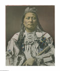Fine Art:Paintings, LATON ANTON HUFFMAN (American 1854-1931) Plenty Coups, Head Chiefof the Crows, 1913 Hand colored photograph 19.75in.x 15...