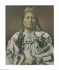 LATON ANTON HUFFMAN (American 1854-1931) Plenty Coups, Head Chief of the Crows, 1913 Hand colored photograph 19.75in.x 1...