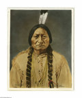 Fine Art:Paintings, After DAVID F. BARRY (American 1854-1934) Sitting Bull, 1855Colored photographic print 19in. x 14.75in. Inscribed lower...