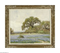 Paintings, ROBERT WILLIAM WOOD (American 1889-1979). Live Oak and Bluebonnets. Oil on canvas. 25in. x 30in.. Signed lower right. Cond...