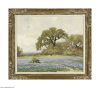 ROBERT WILLIAM WOOD (American 1889-1979) Live Oak and Bluebonnets Oil on canvas 25in. x 30in. Signed lower right  Cond...