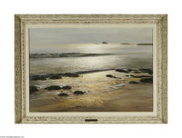 ROBERT WILLIAM WOOD (American 1889 - 1979) Shores of Laguna Oil on canvas 22in. x 32in. Signed lower right Stamped on r...
