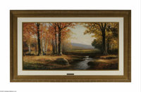 ROBERT WILLIAM WOOD (American 1889 - 1997) Catskill Autumn Oil on canvas 24in. x 48in. Signed lower left Stamped with a...