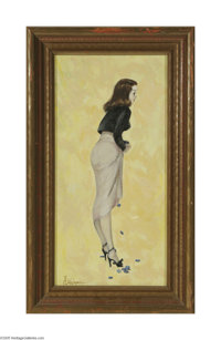 A D GREER (American 1904-1998) Too Many Chips Oil on canvasboard 16in. x 8in. Signed lower left  Condition Report: Ove...