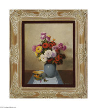 A.D. GREER (American 1904-1998) Floral Still Life, 1992 Oil on canvas 20in. x 16in. Signed and dated lower right  Cond...