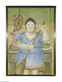 FERNANDO BOTERO (Columbian b. 1932) Woman in the Kitchen, 1981 Watercolor on paper 63in. x 43.5in. Signed and dated lowe...