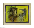 Fine Art:Paintings, WILFREDO LAM (Cuban 1902 - 1982) Sin Titolo, 1974 Oil on canvas19.5in. x 27.5in Signed and dated lower right Conditi...