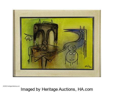 WILFREDO LAM (Cuban 1902 - 1982) Sin Titolo, 1974 Oil on canvas 19.5in. x 27.5in Signed and dated lower right  Conditi...