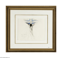 SALVADOR DALI (Spanish 1904-1989) Crucifixion, 1965 Pen and watercolor on paper 11.5in. x 13.75in. Signed and dated lowe...