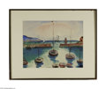 Fine Art:Paintings, ADOLF RICHARD FLEISCHMANN (German 1892-1969) Boats in Harbor, 1945Watercolor and gouache on paper 15.5in. x 20in. Signe...