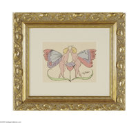 ANDY WARHOL (American 1928-1987) Two Butterflies Hand colored lithograph on paper 8.5in. x 11in. Signed in pen lower rig...
