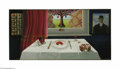 Original Illustration Art:Mainstream Illustration, ROBIN BEERS (American b.1934) Eat Your Heart Out (Dining Fish) Oilon canvas 21in. x 42in. (sight size) Not signed ...