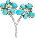 Estate Jewelry:Brooches - Pins, Diamond, Turquoise, Platinum, Gold Brooch. ...