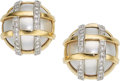 Estate Jewelry:Earrings, Diamond, Mabe Pearl, Platinum, Gold Earrings  ...