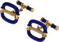 Estate Jewelry:Cufflinks, Enamel, Gold Cuff Links . ...