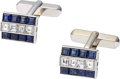 Estate Jewelry:Cufflinks, Sapphire, Diamond, Platinum, White Gold Cuff Links. ...