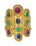 Estate Jewelry:Rings, Emerald, Ruby, Sapphire, Gold Ring. ...
